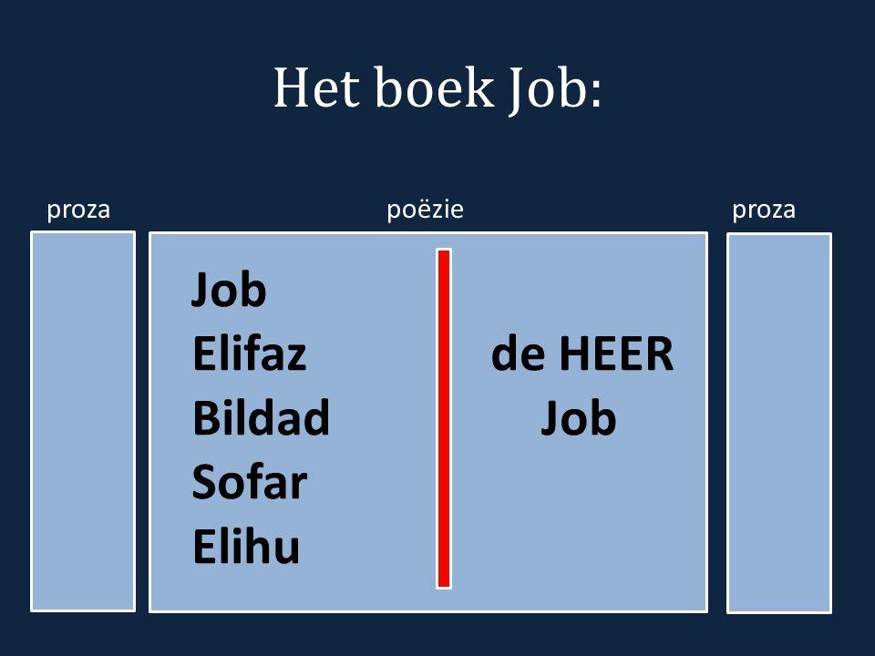 Het boek Job: proza poëzie proza Job Elifaz de HEER BildadJob Sofar Elihu
