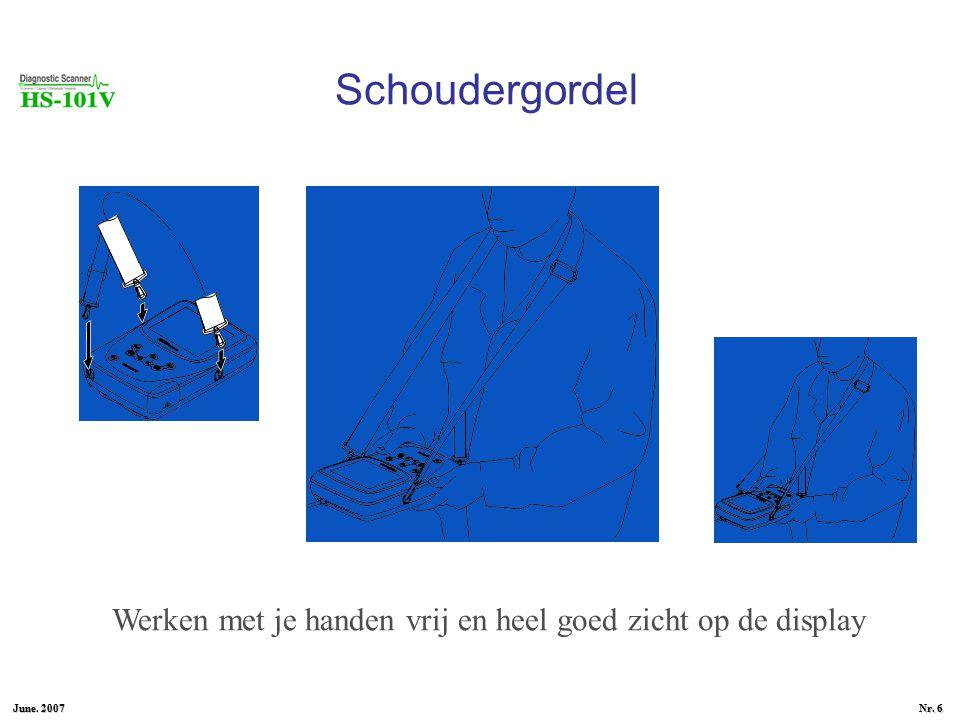 June. 2007 Nr. 6 Schoudergordel Werken met je handen vrij en heel goed zicht op de display