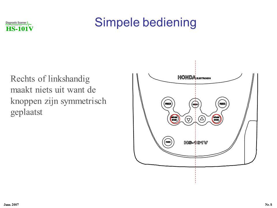 June. 2007 Nr. 7 Simpele bediening Weinig knoppen, veel automatisch Autogain De gain-instelling (witting van het beeld) kan automatisch waardoor je sn