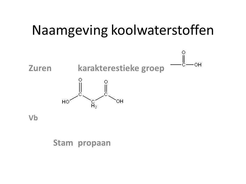 Naamgeving koolwaterstoffen Zurenkarakterestieke groep Vb Stampropaan