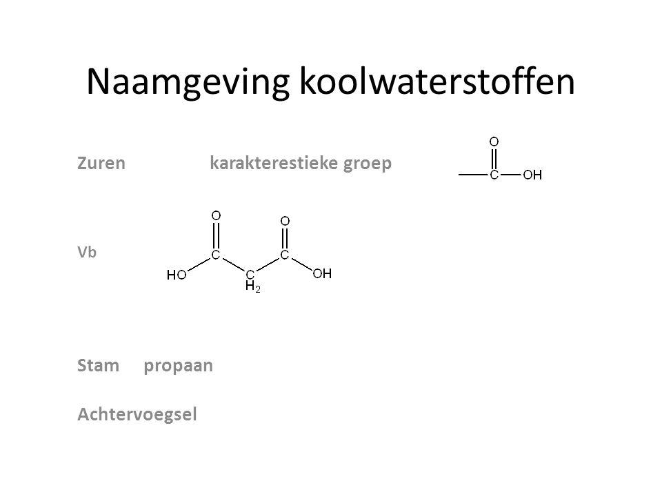 Naamgeving koolwaterstoffen Zurenkarakterestieke groep Vb Stampropaan Achtervoegsel