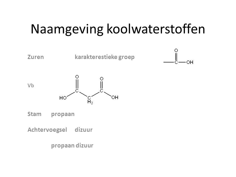 Naamgeving koolwaterstoffen Zurenkarakterestieke groep Vb Stampropaan Achtervoegseldizuur propaan dizuur
