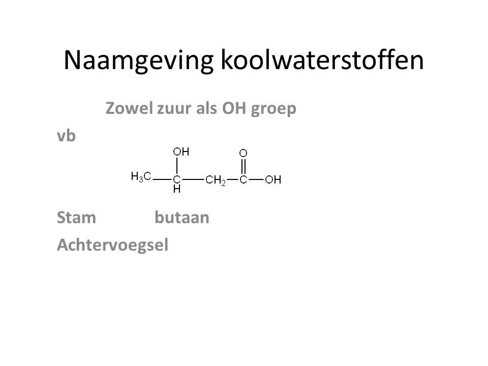 Naamgeving koolwaterstoffen Zowel zuur als OH groep vb Stambutaan Achtervoegsel