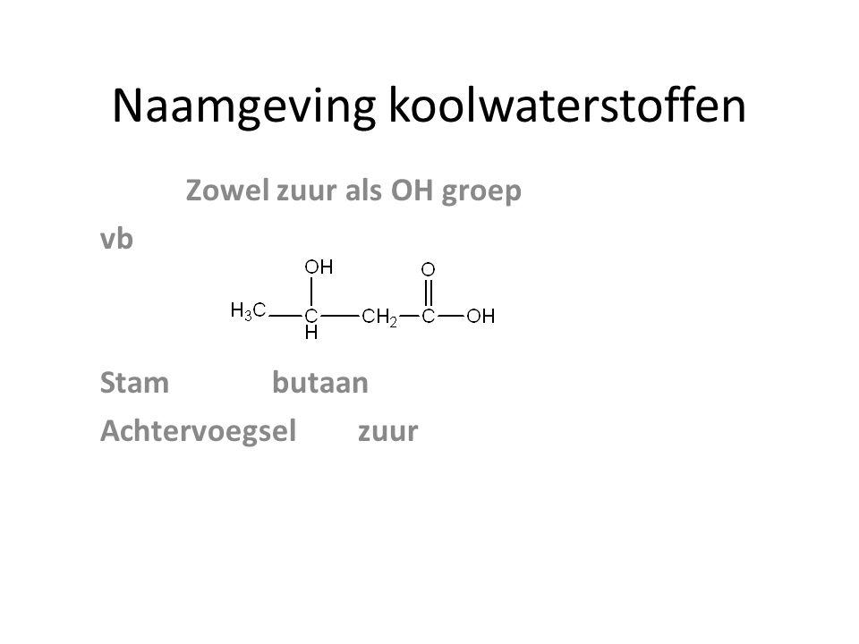 Naamgeving koolwaterstoffen Zowel zuur als OH groep vb Stambutaan Achtervoegselzuur