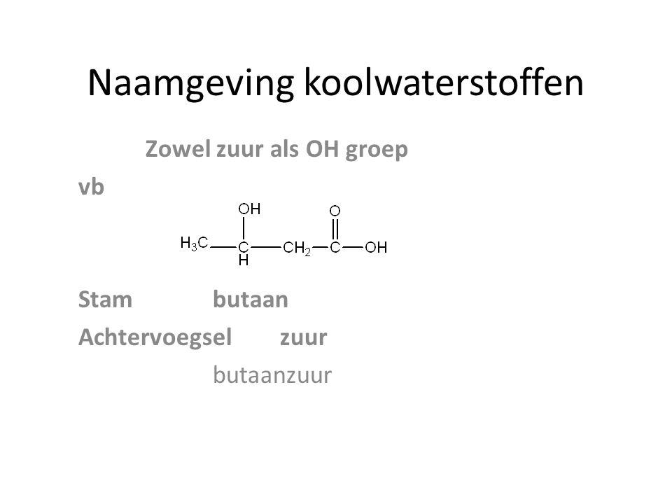 Naamgeving koolwaterstoffen Zowel zuur als OH groep vb Stambutaan Achtervoegselzuur butaanzuur