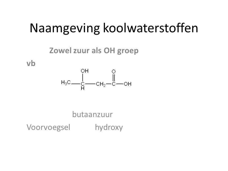 Naamgeving koolwaterstoffen Zowel zuur als OH groep vb butaanzuur Voorvoegselhydroxy