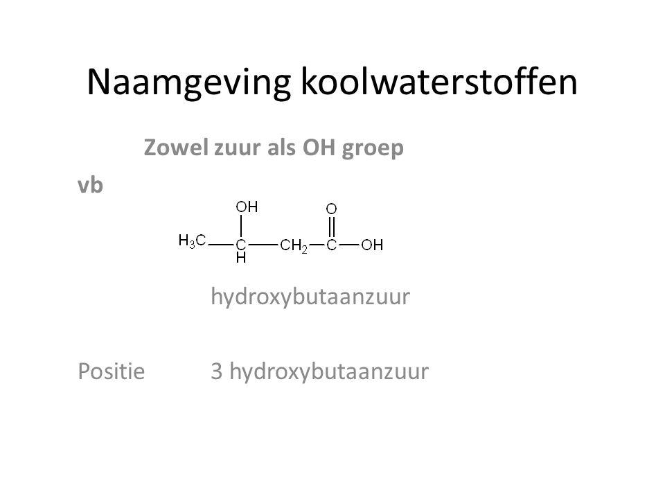 Naamgeving koolwaterstoffen Zowel zuur als OH groep vb hydroxybutaanzuur Positie3 hydroxybutaanzuur