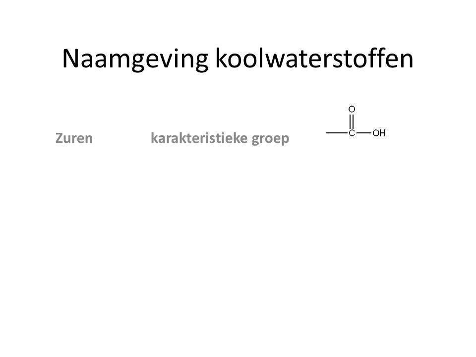 Naamgeving koolwaterstoffen zijgroep achtervoegsel voorvoegsel ZurenCOOHzuur Esters AlcoholenOHolhydroxy AminenNH 2 amine amino Ethers O─ C n H 2n+1 -alkoxy Aldehyden─COH al Ketonen ─CO ─on