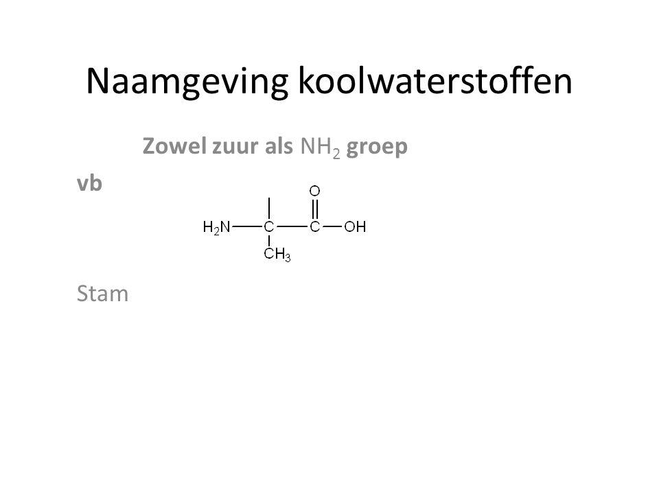 Naamgeving koolwaterstoffen Zowel zuur als NH 2 groep vb Stam