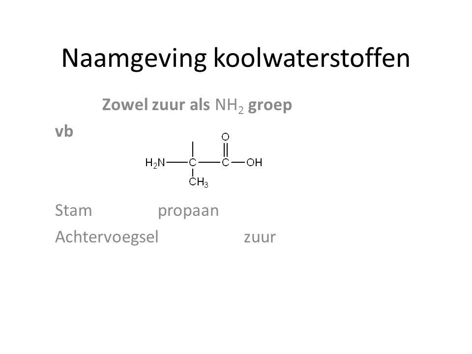 Naamgeving koolwaterstoffen Zowel zuur als NH 2 groep vb Stam propaan Achtervoegsel zuur