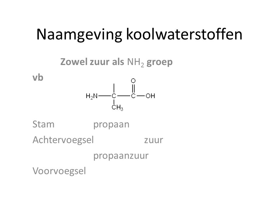 Naamgeving koolwaterstoffen Zowel zuur als NH 2 groep vb Stam propaan Achtervoegsel zuur propaanzuur Voorvoegsel