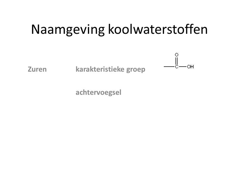 Naamgeving koolwaterstoffen Zowel zuur als NH 2 groep vb Stam propaan Achtervoegsel zuur propaanzuur