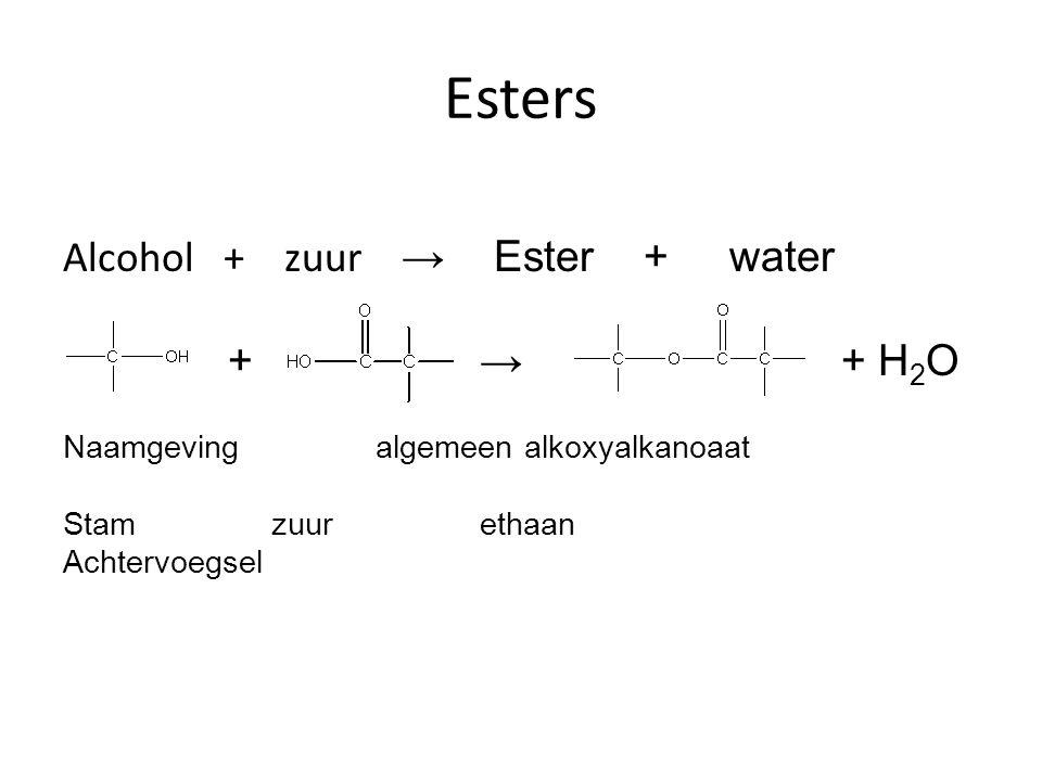 Esters Alcohol + zuur → Ester + water +→ + H 2 O Naamgevingalgemeen alkoxyalkanoaat Stamzuurethaan Achtervoegsel