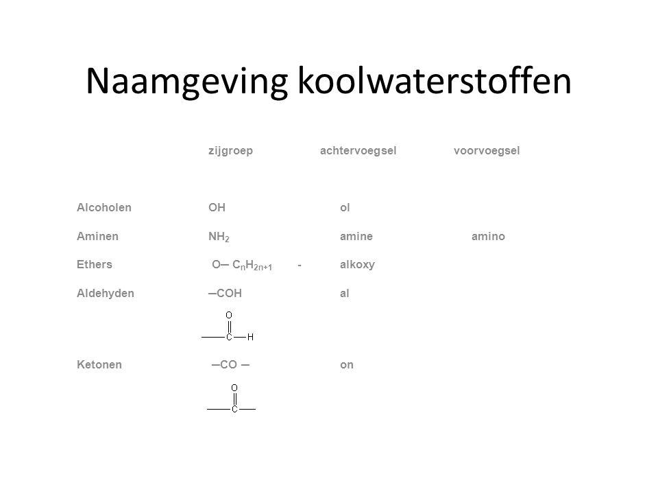 Naamgeving koolwaterstoffen zijgroep achtervoegsel voorvoegsel AlcoholenOHol AminenNH 2 amine amino Ethers O─ C n H 2n+1 -alkoxy Aldehyden─COH al Ketonen ─CO ─on