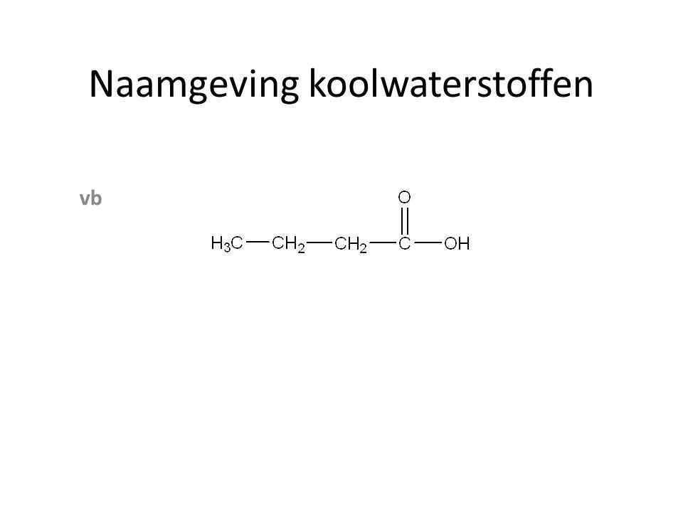 Naamgeving koolwaterstoffen Zowel zuur als OH groep vb hydroxybutaanzuur Positie