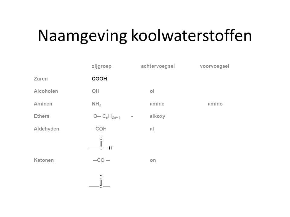 Naamgeving koolwaterstoffen zijgroep achtervoegsel voorvoegsel ZurenCOOH AlcoholenOHol AminenNH 2 amine amino Ethers O─ C n H 2n+1 -alkoxy Aldehyden─COH al Ketonen ─CO ─on