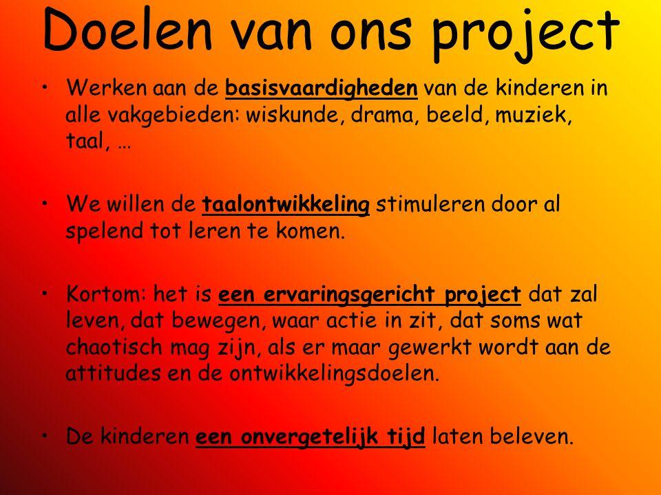 Doelen van ons project Werken aan de basisvaardigheden van de kinderen in alle vakgebieden: wiskunde, drama, beeld, muziek, taal, … We willen de taalo