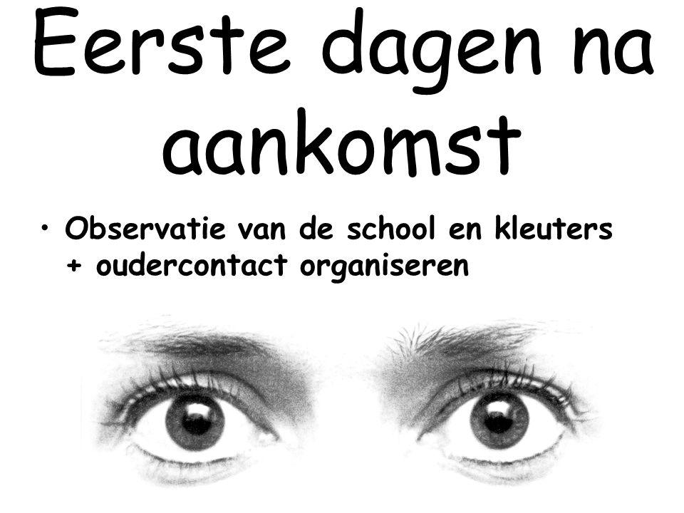 Eerste dagen na aankomst Observatie van de school en kleuters + oudercontact organiseren