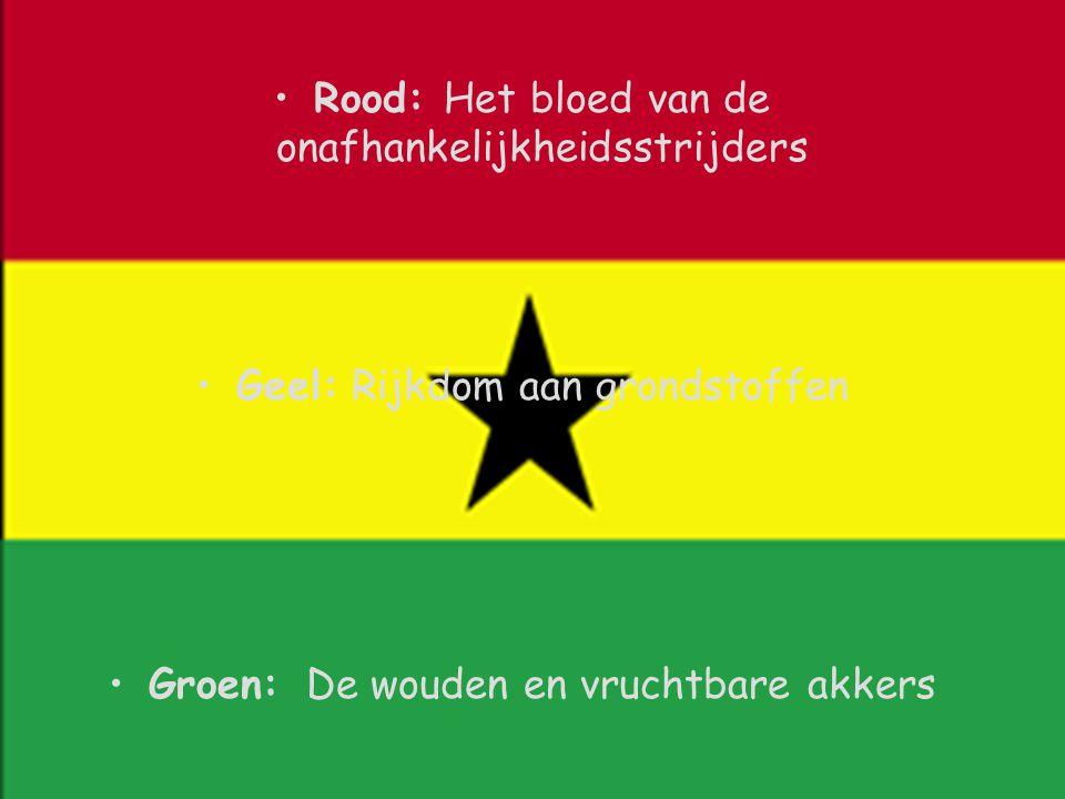 Rood: Het bloed van de onafhankelijkheidsstrijders Geel: Rijkdom aan grondstoffen Groen: De wouden en vruchtbare akkers