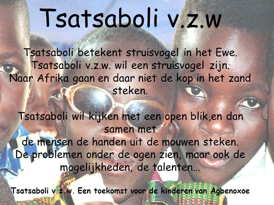Tsatsaboli v.z.w Tsatsaboli betekent struisvogel in het Ewe. Tsatsaboli v.z.w. wil een struisvogel zijn. Naar Afrika gaan en daar niet de kop in het z