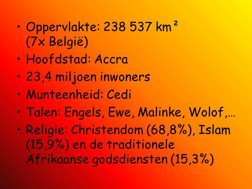 Oppervlakte: 238 537 km² (7x België) Hoofdstad: Accra 23,4 miljoen inwoners Munteenheid: Cedi Talen: Engels, Ewe, Malinke, Wolof,… Religie: Christendo