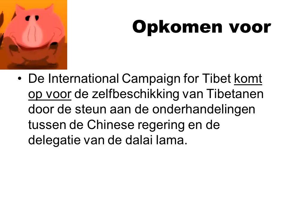 Opkomen voor De International Campaign for Tibet komt op voor de zelfbeschikking van Tibetanen door de steun aan de onderhandelingen tussen de Chinese