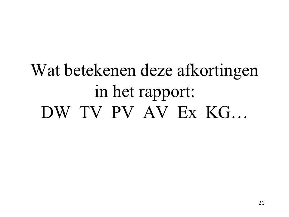 21 Wat betekenen deze afkortingen in het rapport: DW TV PV AV Ex KG…