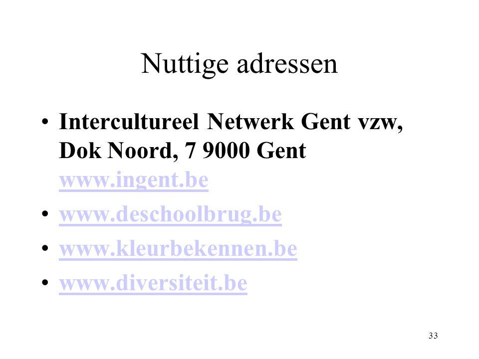 33 Nuttige adressen Intercultureel Netwerk Gent vzw, Dok Noord, 7 9000 Gent www.ingent.be www.ingent.be www.deschoolbrug.be www.kleurbekennen.be www.diversiteit.be