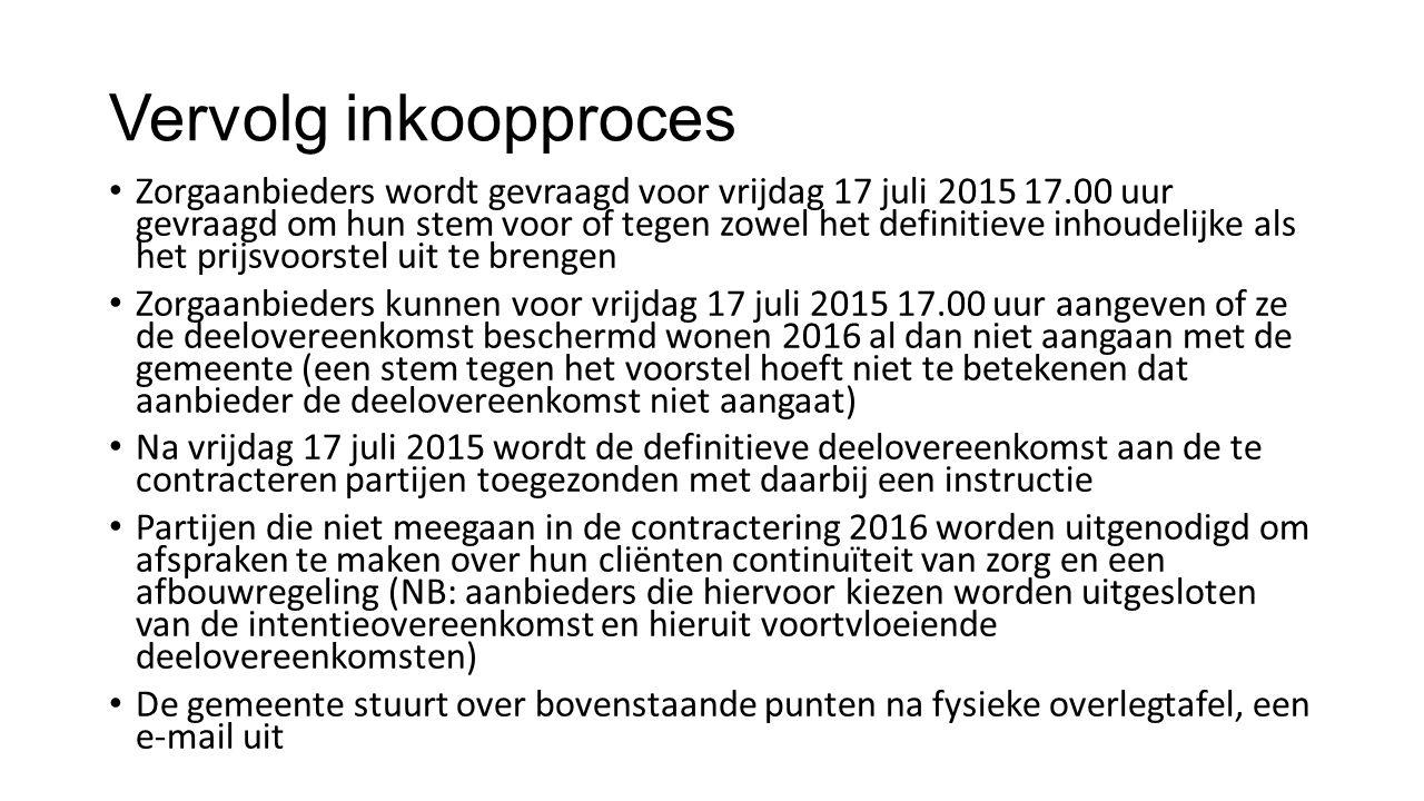 Vervolg inkoopproces Zorgaanbieders wordt gevraagd voor vrijdag 17 juli 2015 17.00 uur gevraagd om hun stem voor of tegen zowel het definitieve inhoud