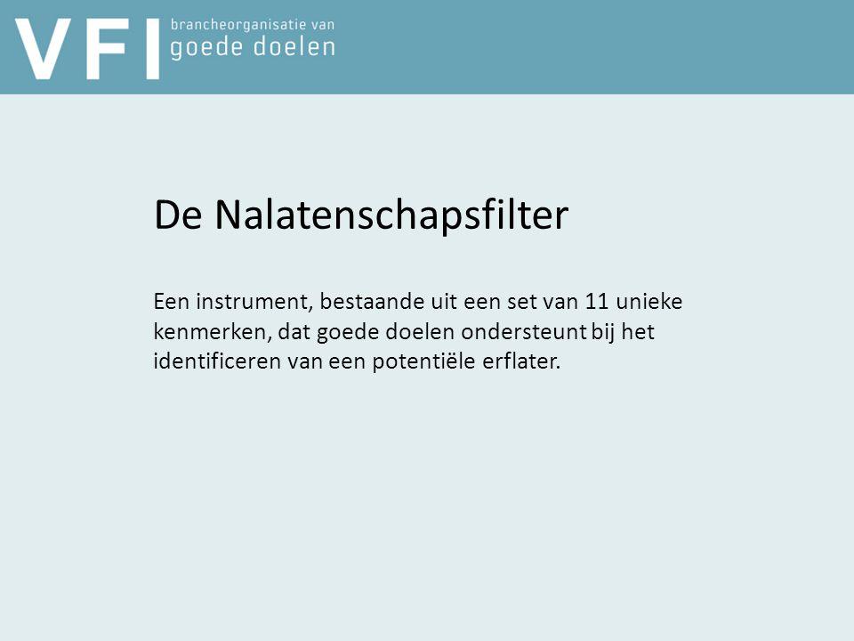 De Nalatenschapsfilter Een instrument, bestaande uit een set van 11 unieke kenmerken, dat goede doelen ondersteunt bij het identificeren van een potentiële erflater.