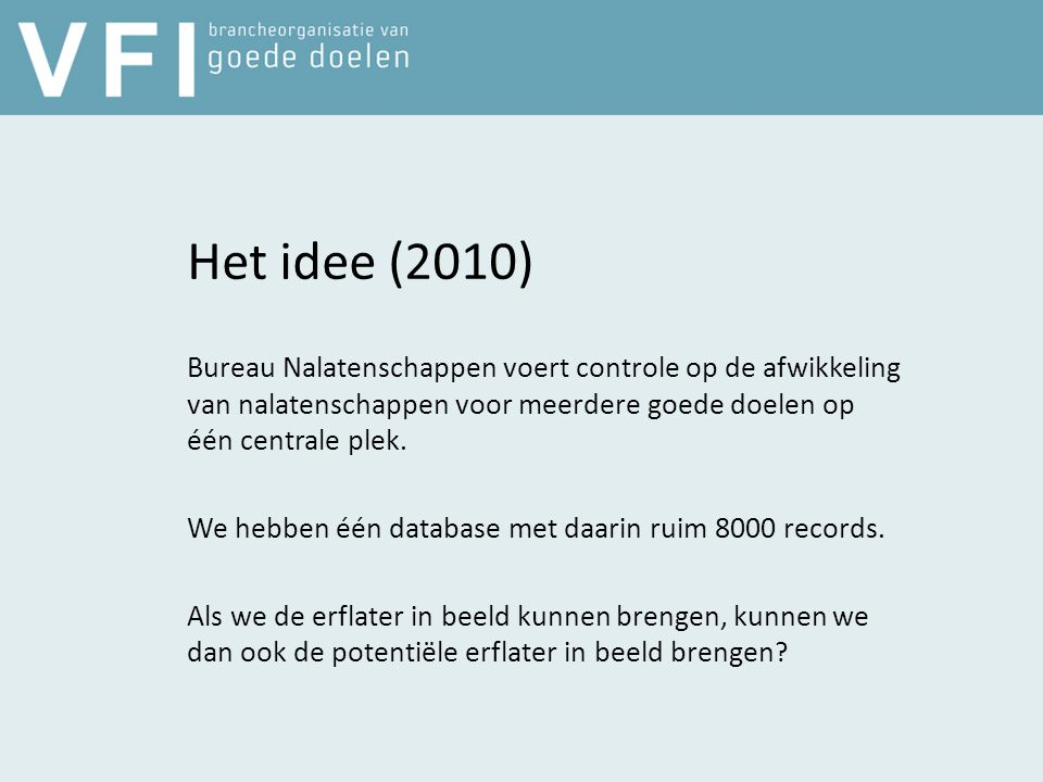 Het idee (2010) Bureau Nalatenschappen voert controle op de afwikkeling van nalatenschappen voor meerdere goede doelen op één centrale plek.