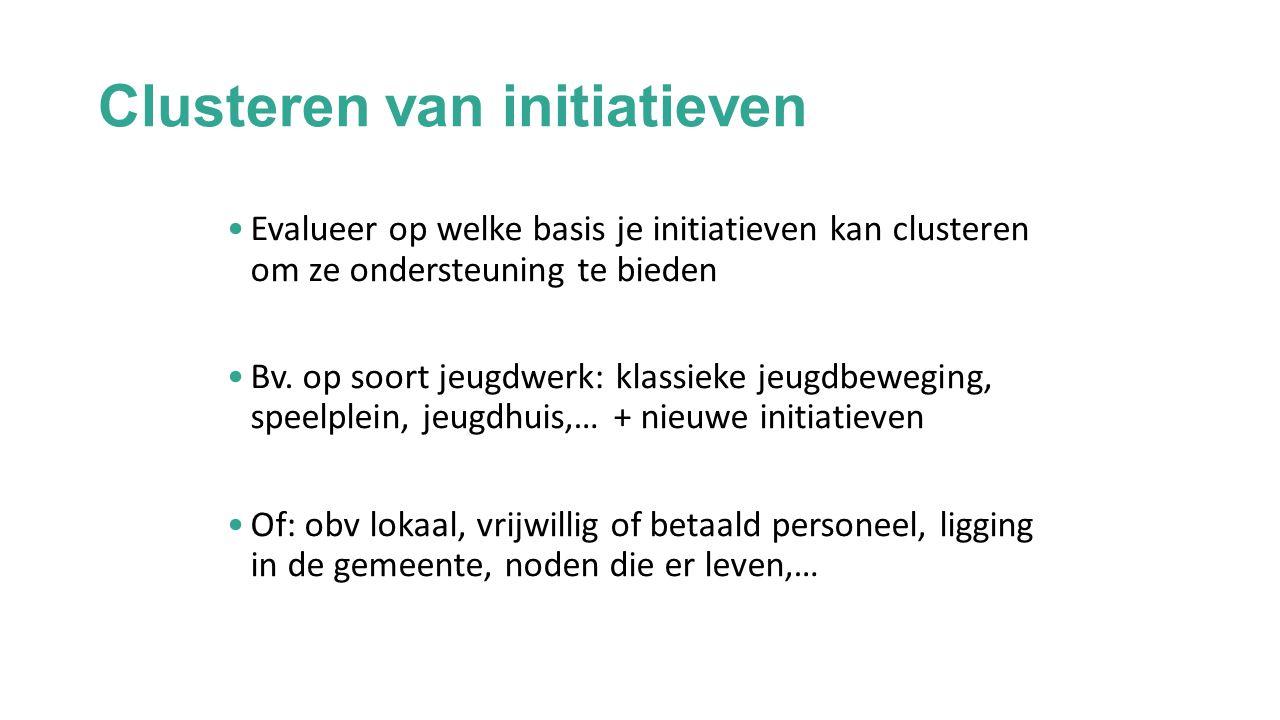 Clusteren van initiatieven Evalueer op welke basis je initiatieven kan clusteren om ze ondersteuning te bieden Bv.