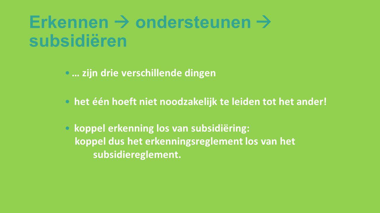 Erkennen  ondersteunen  subsidiëren … zijn drie verschillende dingen het één hoeft niet noodzakelijk te leiden tot het ander.