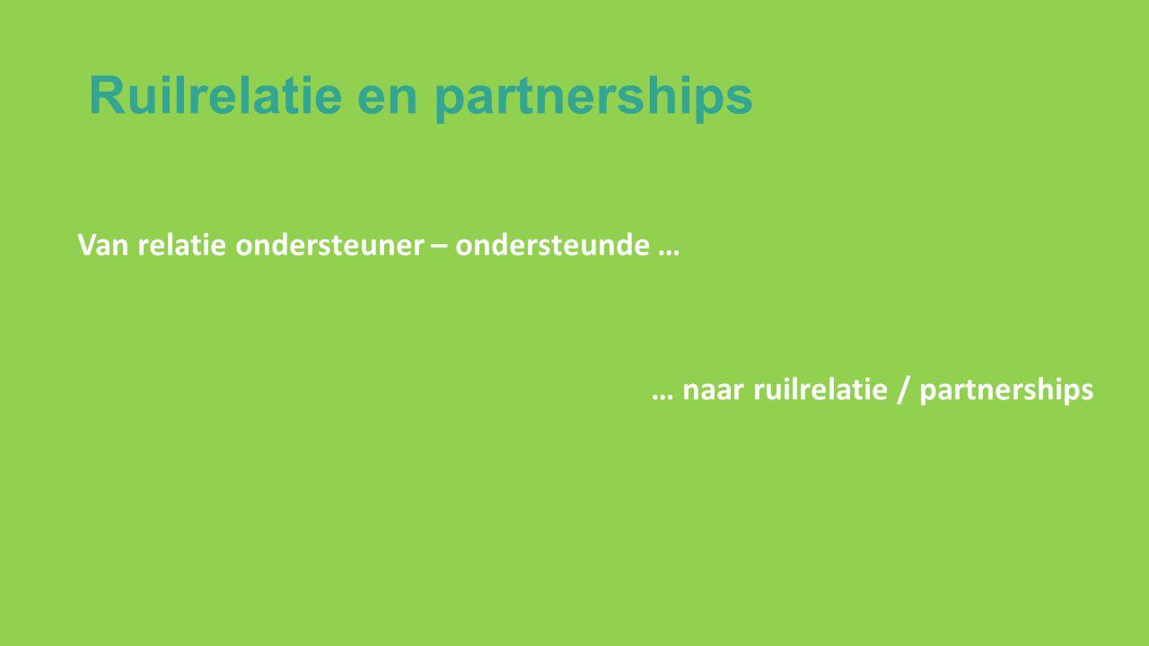 Ruilrelatie en partnerships Van relatie ondersteuner – ondersteunde … … naar ruilrelatie / partnerships