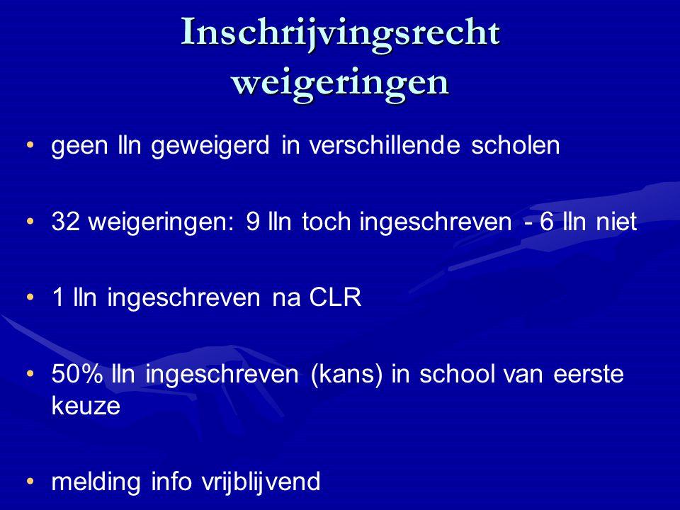 Inschrijvingsrecht weigeringen geen lln geweigerd in verschillende scholen 32 weigeringen: 9 lln toch ingeschreven - 6 lln niet 1 lln ingeschreven na