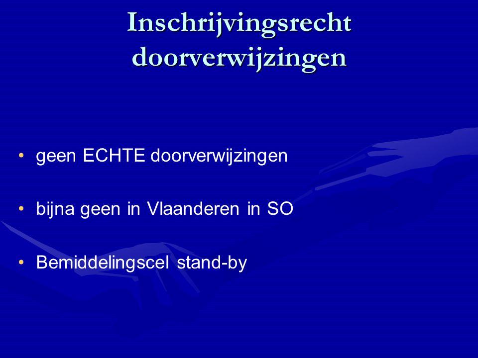 Inschrijvingsrecht doorverwijzingen geen ECHTE doorverwijzingen bijna geen in Vlaanderen in SO Bemiddelingscel stand-by