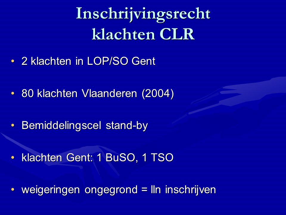 Inschrijvingsrecht klachten CLR 2 klachten in LOP/SO Gent2 klachten in LOP/SO Gent 80 klachten Vlaanderen (2004)80 klachten Vlaanderen (2004) Bemiddelingscel stand-byBemiddelingscel stand-by klachten Gent: 1 BuSO, 1 TSOklachten Gent: 1 BuSO, 1 TSO weigeringen ongegrond = lln inschrijvenweigeringen ongegrond = lln inschrijven