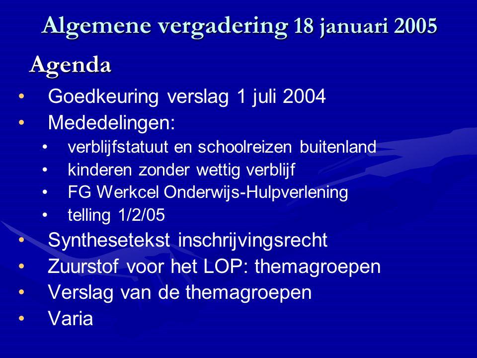 Algemene vergadering 18 januari 2005 Goedkeuring verslag 1 juli 2004 Mededelingen: verblijfstatuut en schoolreizen buitenland kinderen zonder wettig v