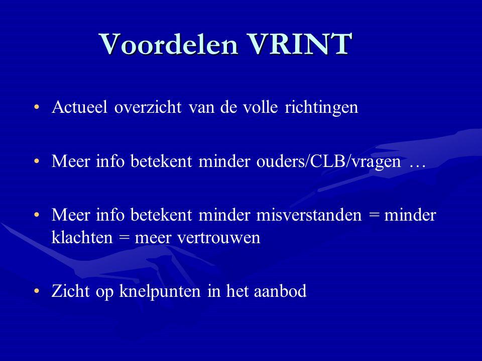 Voordelen VRINT Actueel overzicht van de volle richtingen Meer info betekent minder ouders/CLB/vragen … Meer info betekent minder misverstanden = minder klachten = meer vertrouwen Zicht op knelpunten in het aanbod