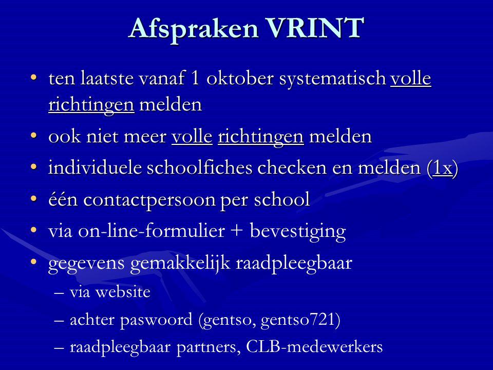 Afspraken VRINT ten laatste vanaf 1 oktober systematisch volle richtingen meldenten laatste vanaf 1 oktober systematisch volle richtingen melden ook n