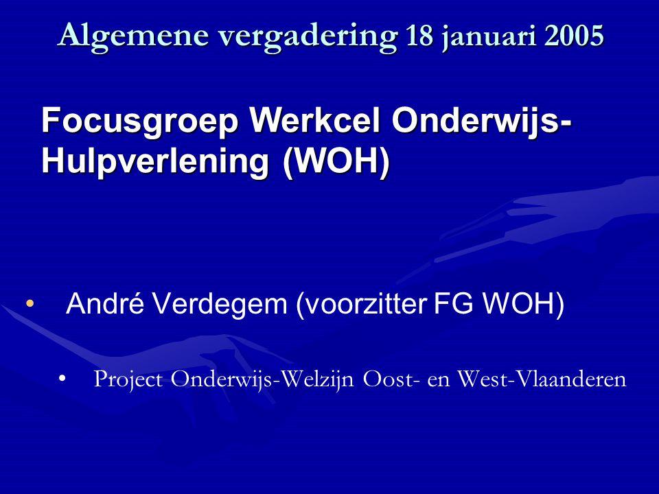 Algemene vergadering 18 januari 2005 André Verdegem (voorzitter FG WOH) Project Onderwijs-Welzijn Oost- en West-Vlaanderen Focusgroep Werkcel Onderwijs- Hulpverlening (WOH)