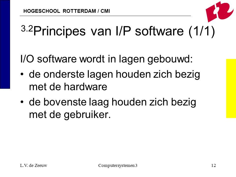 HOGESCHOOL ROTTERDAM / CMI L.V. de ZeeuwComputersystemen 312 3.2 Principes van I/P software (1/1) I/O software wordt in lagen gebouwd: de onderste lag