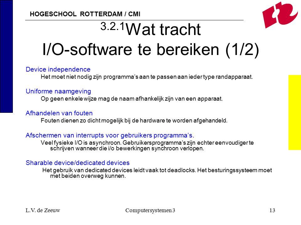 HOGESCHOOL ROTTERDAM / CMI L.V. de ZeeuwComputersystemen 313 3.2.1 Wat tracht I/O-software te bereiken (1/2) Device independence Het moet niet nodig z