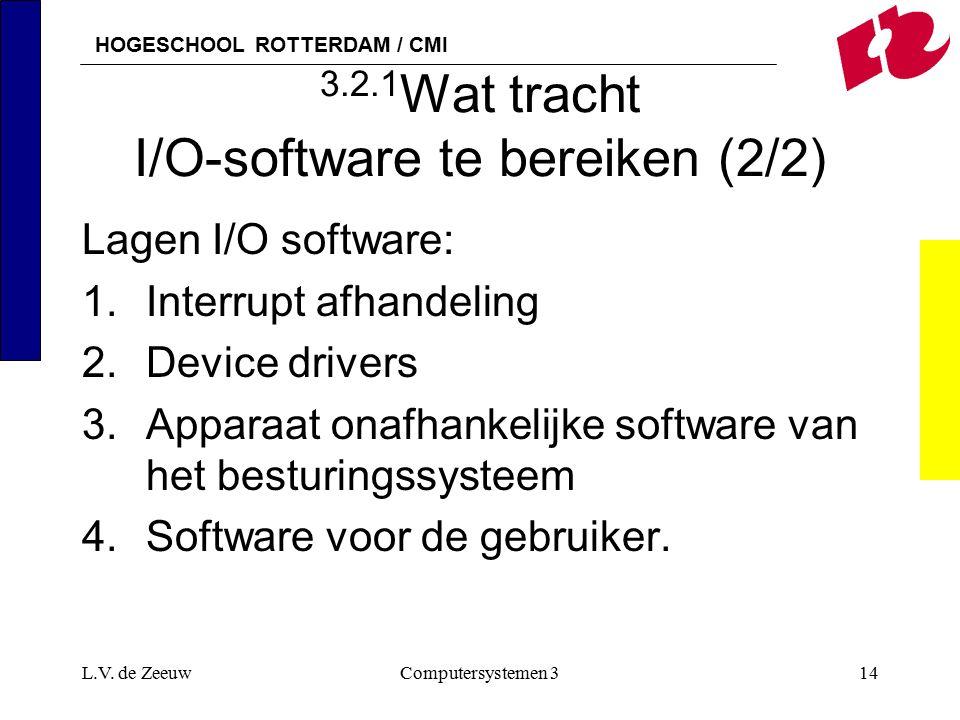 HOGESCHOOL ROTTERDAM / CMI L.V. de ZeeuwComputersystemen 314 3.2.1 Wat tracht I/O-software te bereiken (2/2) Lagen I/O software: 1.Interrupt afhandeli