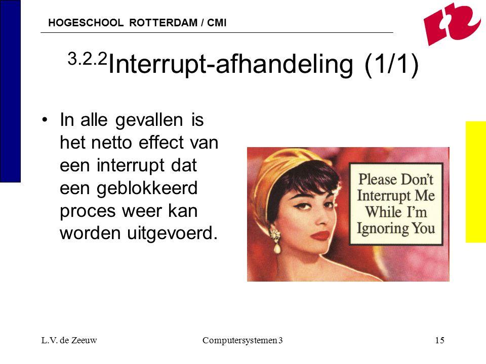 HOGESCHOOL ROTTERDAM / CMI L.V. de ZeeuwComputersystemen 315 3.2.2 Interrupt-afhandeling (1/1) In alle gevallen is het netto effect van een interrupt