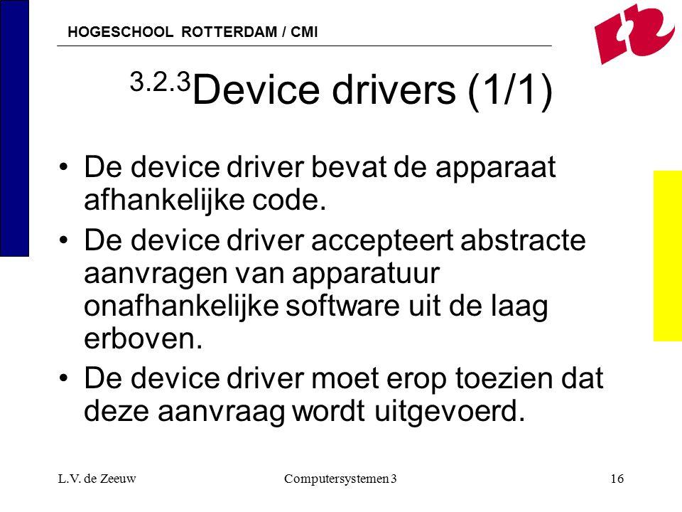 HOGESCHOOL ROTTERDAM / CMI L.V. de ZeeuwComputersystemen 316 3.2.3 Device drivers (1/1) De device driver bevat de apparaat afhankelijke code. De devic