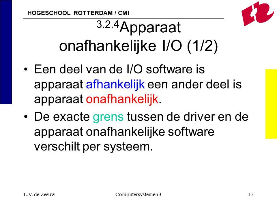 HOGESCHOOL ROTTERDAM / CMI L.V. de ZeeuwComputersystemen 317 3.2.4 Apparaat onafhankelijke I/O (1/2) Een deel van de I/O software is apparaat afhankel
