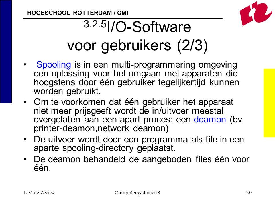 HOGESCHOOL ROTTERDAM / CMI L.V. de ZeeuwComputersystemen 320 3.2.5 I/O-Software voor gebruikers (2/3) Spooling is in een multi-programmering omgeving