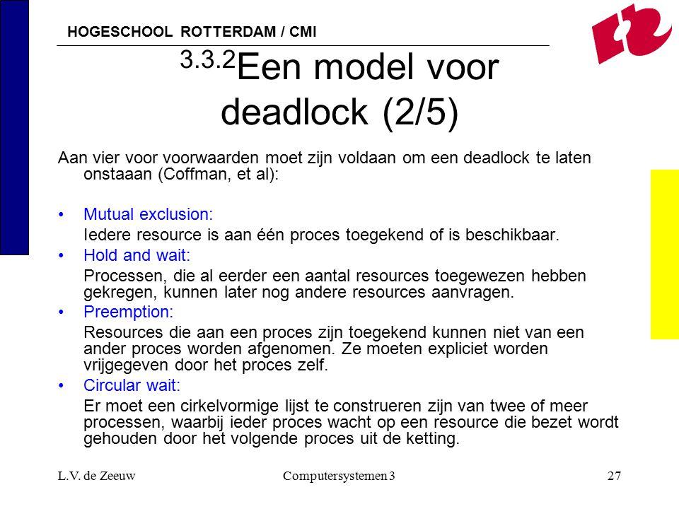 HOGESCHOOL ROTTERDAM / CMI L.V. de ZeeuwComputersystemen 327 3.3.2 Een model voor deadlock (2/5) Aan vier voor voorwaarden moet zijn voldaan om een de
