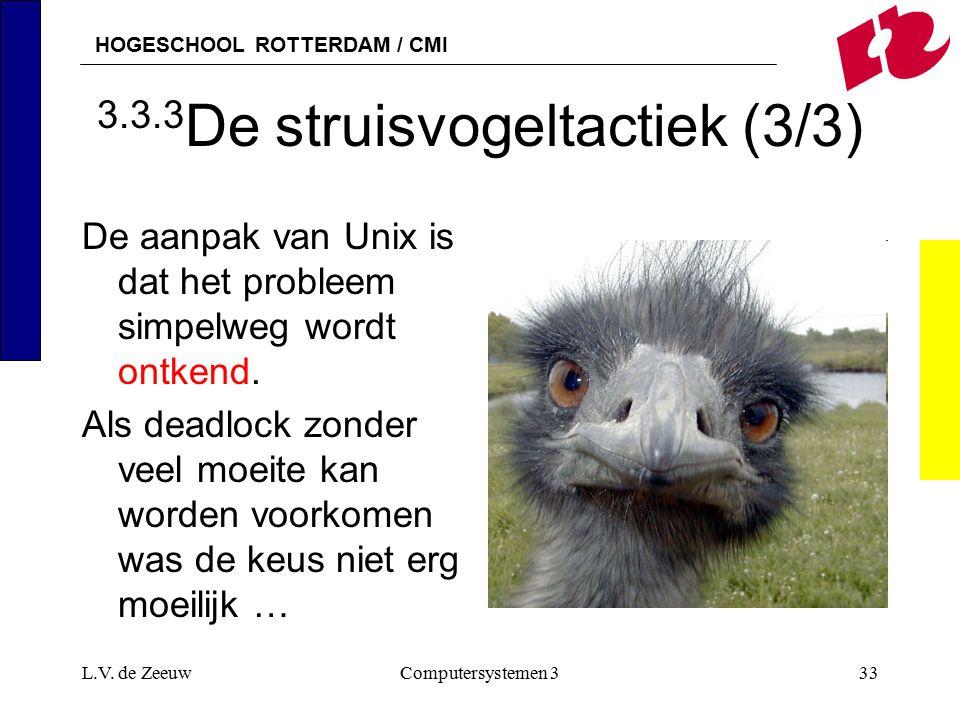 HOGESCHOOL ROTTERDAM / CMI L.V. de ZeeuwComputersystemen 333 3.3.3 De struisvogeltactiek (3/3) De aanpak van Unix is dat het probleem simpelweg wordt